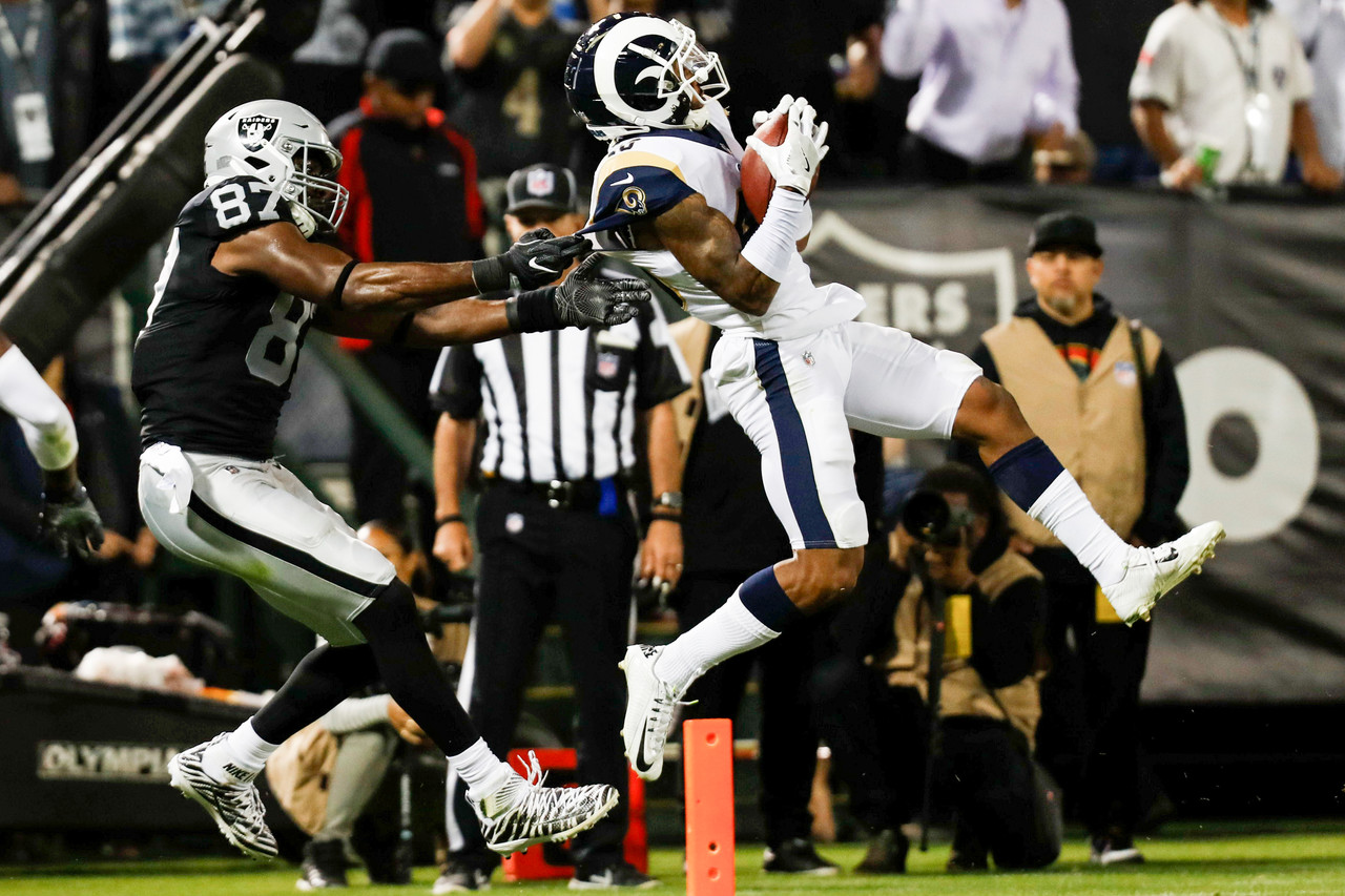 9f8bc297cd4 The Los Angeles Rams upset Jon Gruden s return to the sideline of the  Oakland Raiders.