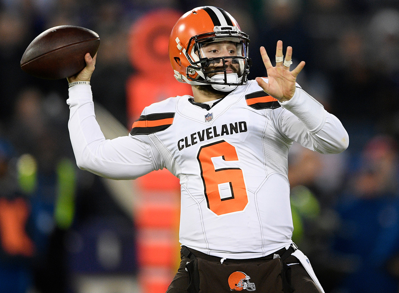 "<b>Draft position:</b> Round 1, No. 1 overall.<br /> <br /> Mayfield was directly responsible for the Browns reaching the seven-win threshold for just the fifth time since 1999. He kept them in games with his leadership skills and ability to make big plays, compiling a 6-7 record as a starter (in addition to rallying Cleveland from behind against the Jets in Week 3). He also set <a href=""http://www.nfl.com/news/story/0ap3000001006054/article/baker-mayfield-breaks-rookie-passing-td-record"">a new single-season rookie record</a> for touchdown passes (27), while his passer rating (93.7) and per-game yardage total (266.1) were the best single-season marks in Browns history among players with 300-plus pass attempts and 13-plus starts. <b>My pre-draft ranking:</b> No. 4."