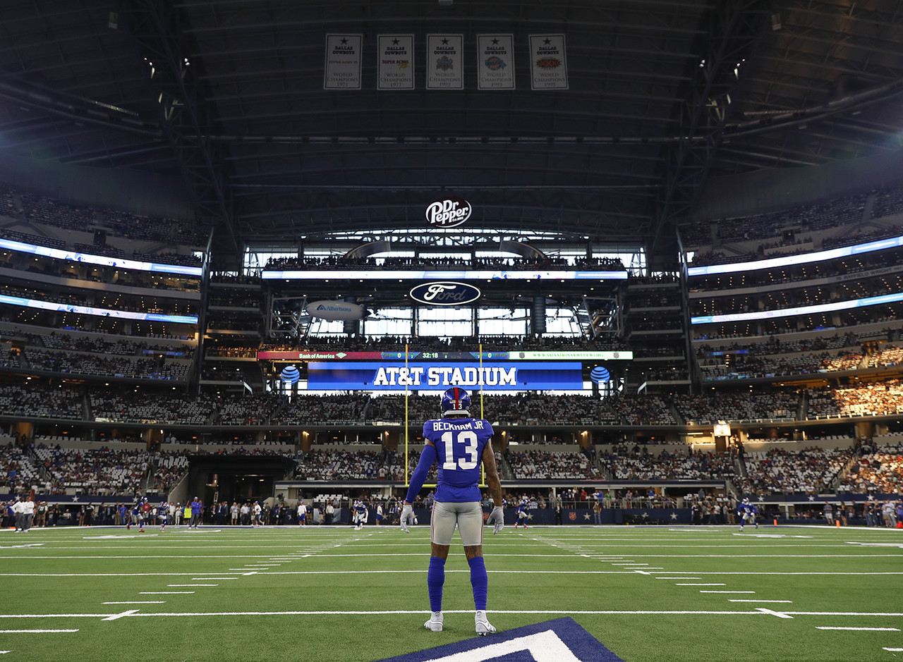 New York Giants wide receiver Odell Beckham (13) looks on during warm ups prior to an NFL football game against the Dallas Cowboys, Sunday, Sept. 16, 2018, in Arlington, Texas. The Cowboys defeated the Giants, 20-13.