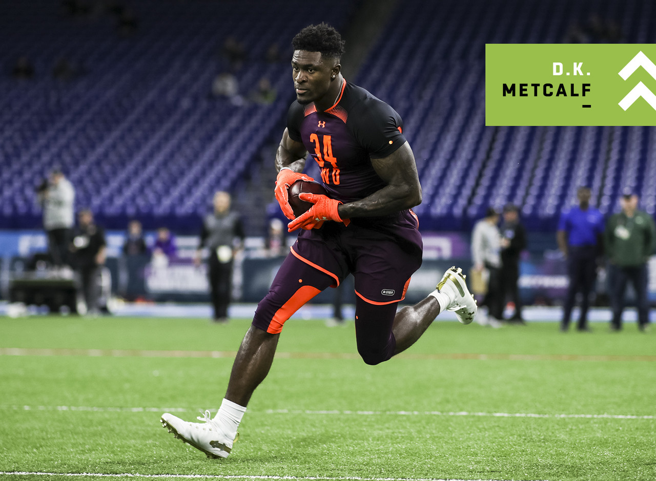 "Question marks remain about Metcalf's overall production in just 21 games across three years at Ole Miss and whether or not he is agile or polished enough to run a full route tree, but this much is true: He is a freak specimen. Standing 6'3"" and weighing 228 lbs, Metcalf joined Calvin Johnson as the <i>only</i> players in combine history to run a sub-4.35 forty-yard dash while weighing over 225 lbs. For reference, Megatron ran a 4.35 forty at 239 lbs. While Metcalf never had more than 39 balls in a single-season, he was just as productive as fellow Ole Miss standout A.J. Brown on a per route basis last year. Per PFF's FBS data, A.J. Brown (2.93) and Metcalf (2.91) essentially gained the same amount of yards per route run in the 2018 season. Metcalf only played in seven games (neck) last season while Brown played all 12. I still have N'Keal Harry and Hakeem Butler ranked over Metcalf in my dynasty rookie ranks, but Metcalf has certainly solidified himself as a top-tier prospect."