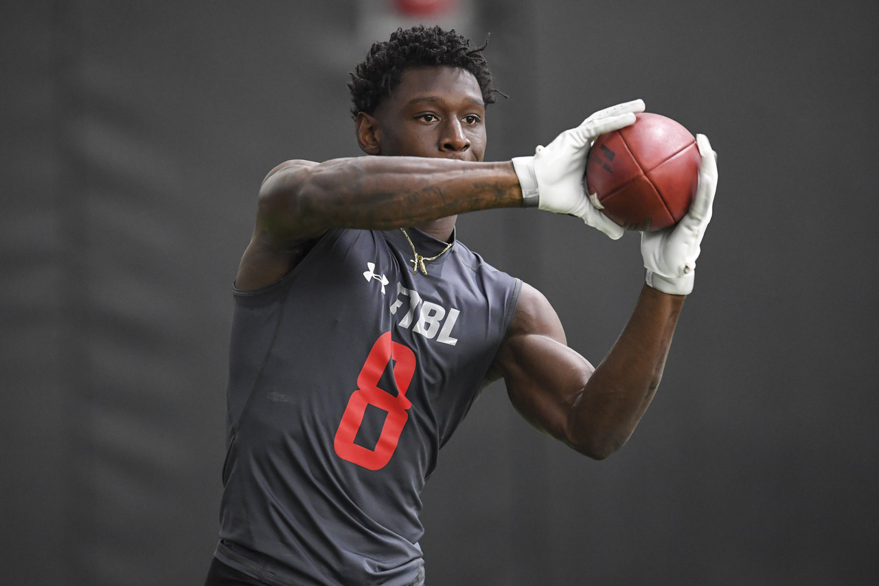 Georgia Bulldogs wide receiver Riley Ridley (8) catches the ball during Pro Day at the UGA Practice Facility.