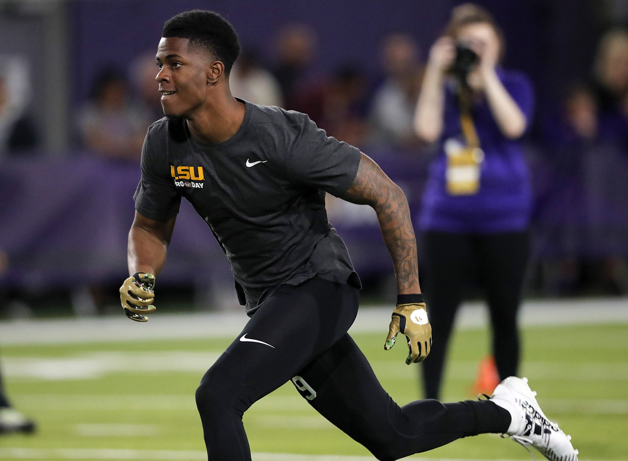 "LSU cornerback Andraez ""Greedy"" Williams works out during their NFL Pro Timing Day at their NCAA football training facility in Baton Rouge, La., Friday, March 22, 2019."
