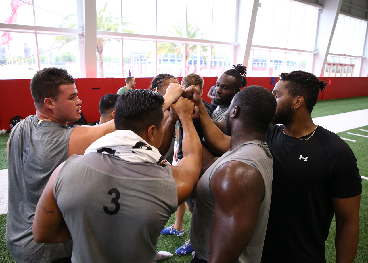 International players huddle up during International Pro Day on Monday, April 1, 2019 in Tampa, Fla.