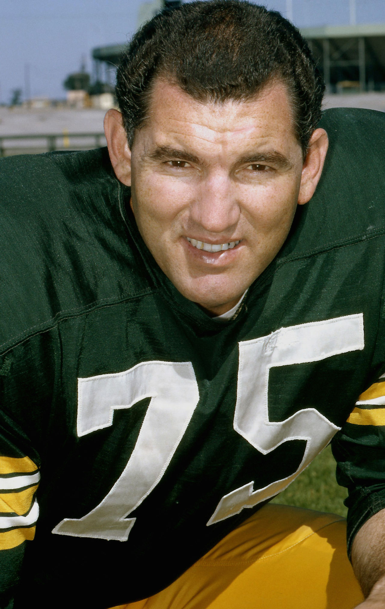 Green Bay Packers Hall of Fame tackle Forrest Gregg (75)  poses for a headshot at Lambeau Field in Green Bay, Wis. on Aug. 11, 1965.