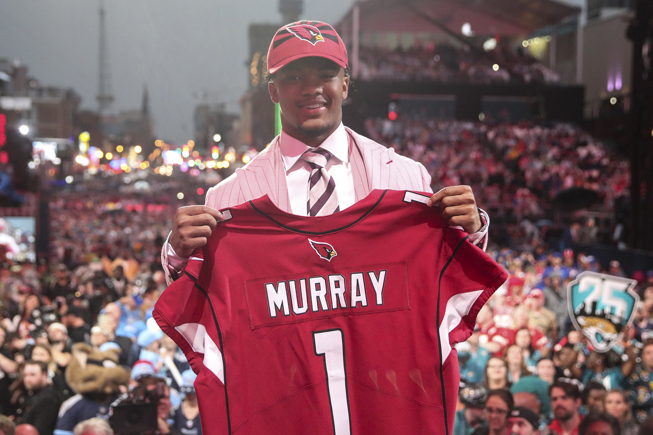 Oklahoma quarterback Kyler Murray on stage after being selected by the Arizona Cardinals during the 2019 NFL Draft on Thursday, April 25, 2019 in Nashville, Tenn.
