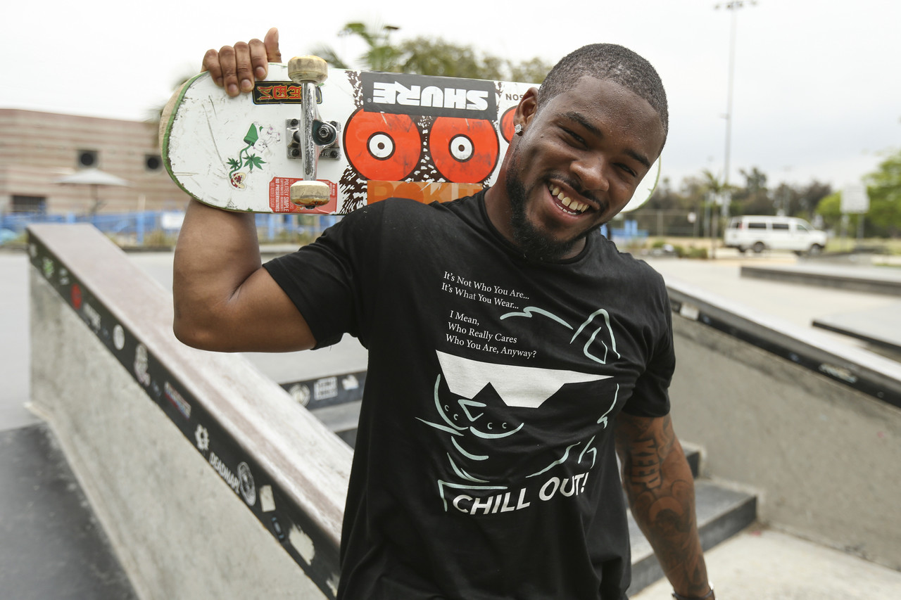 "<a href=""http://www.nfl.com/teams/profile?team=LA"">Los Angeles Rams</a> running back <a href=""http://www.nfl.com/player/johnkelly/2560777/profile"">John Kelly</a> skates at Westchester Skate Plaza in Los Angeles, Calif., on June 15, 2019, ahead of Go Skateboarding Day. ""Skating is really relaxing to me, it's really relieving,"" Kelly said in an interview with the Rams' Behind the Grind series. ""When you're in a professional sport, you've got to find things other than just that sport to ease your mind."""