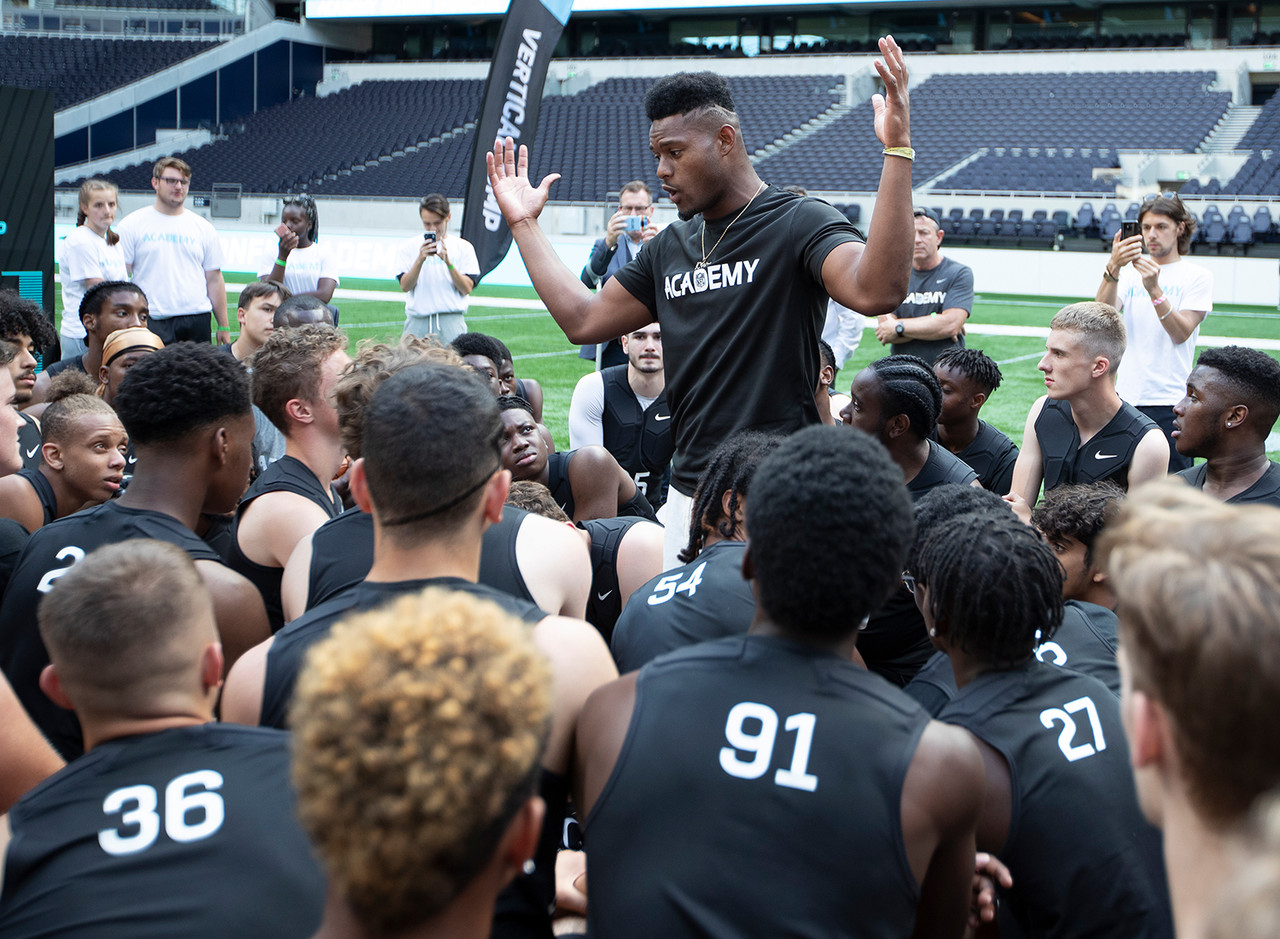 Pittsburgh Steelers wide receiver JuJu Smith-Schuster (19) talk to the participants during NFL Academy: Stadium Showcase at Tottenham Hotspur Stadium on July 2, 2019 in London, England.