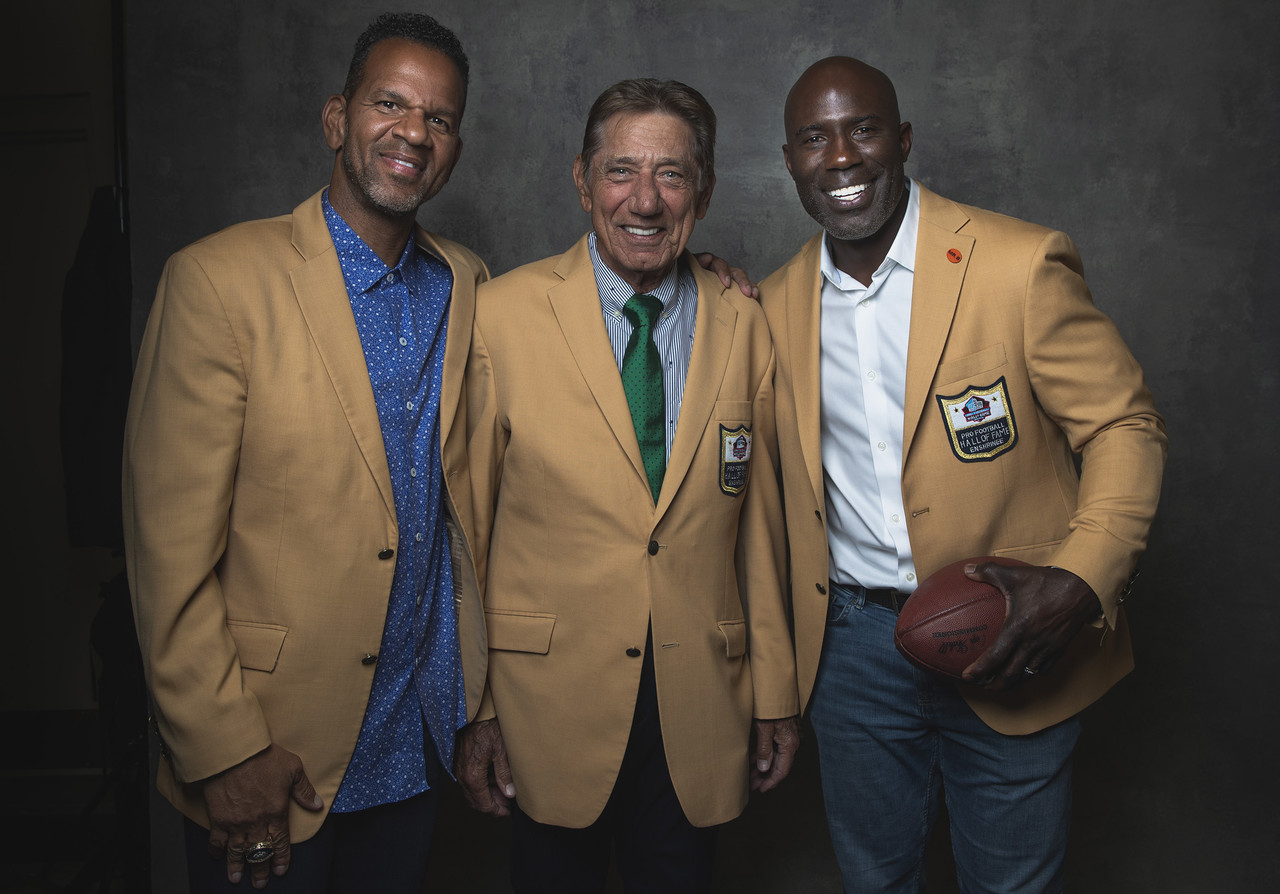 Hall of Famers Andre Reed, Joe Namath and Terrell Davis pose for a photo at the Pro Football Hall of Fame on Friday, August. 2, 2019 in Canton, Ohio.