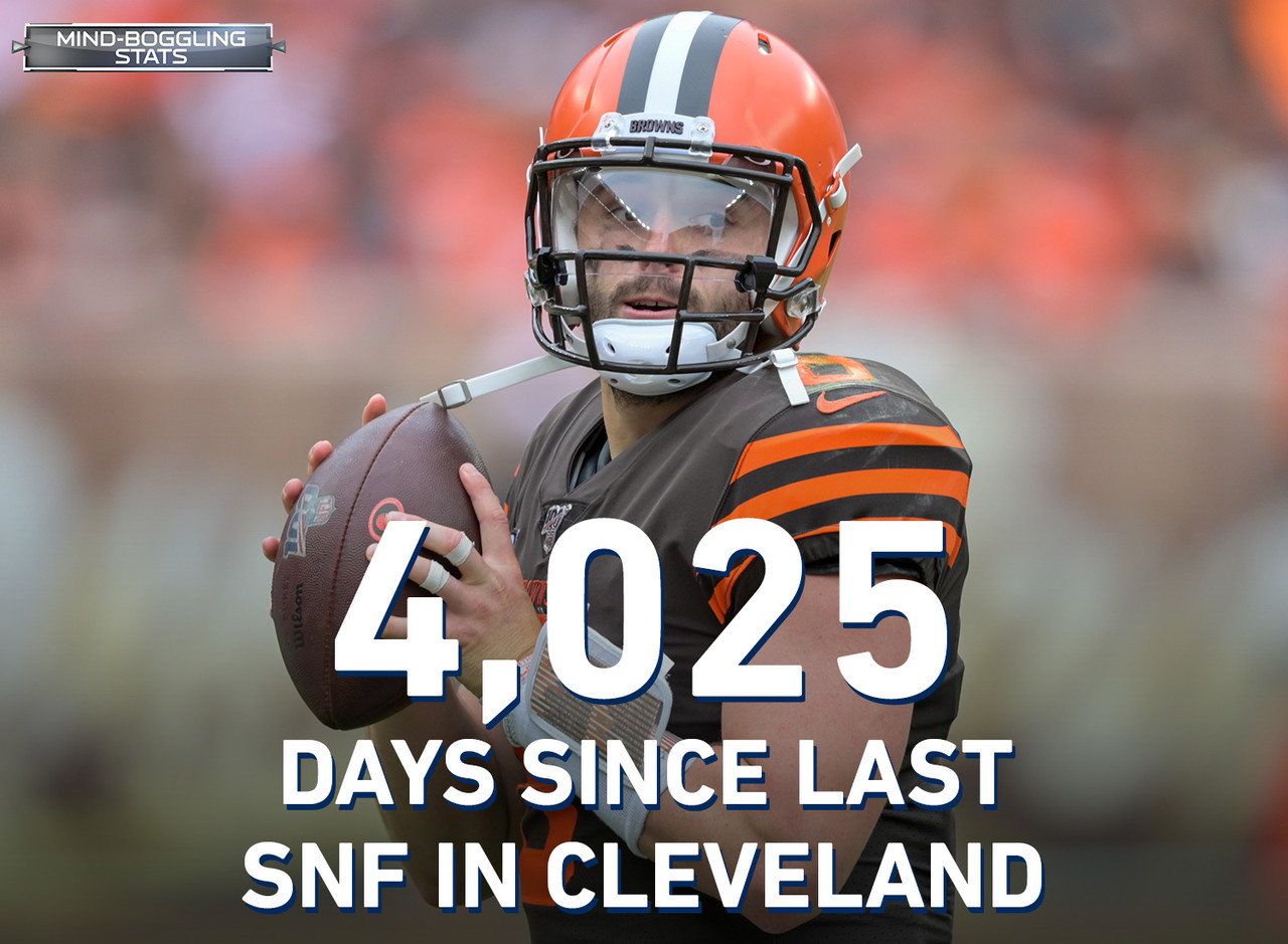 The last time Sunday Night Football was played under the lights in Cleveland was on September 14, 2008 (Week 2) or 4,025 days from Week 3's SNF showdown between the Rams and Browns in – you guessed it – Cleveland. Baker Mayfield was 13 years old, and 22-year-old Sean McVay had just started his first NFL coaching job as Jon Gruden's Assistant Wide Receivers coach in Tampa Bay.