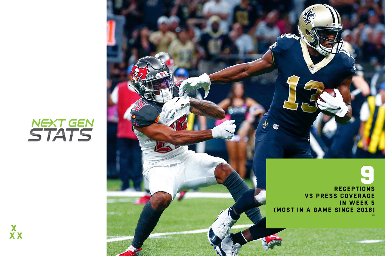 """The Michael Thomas-Teddy Bridgewater connection clicked in a big way in the Saints' Week 5 win over the division-rival Buccaneers. Thomas was able to fight through tight coverage to haul in 9 of 9 targets when pressed, the most receptions against press coverage by any player in a game since 2016. Thomas gained 164 of his 182 receiving yards when pressed, the third-most in a single game since 2016. The Saints benefited from Bridgewater's ability to push the ball downfield for the first time all season, as he finished 3 for 3 with 109 yards and a touchdown on deep passes (20-plus air yards), his first deep completions of the season. The Jags hope to counter on Sunday with the return of shutdown corner Jalen Ramsey. He has missed the last two games with a back injury, but team owner Shad Khan thinks <a target=""""_blank"""" href=""""http://www.nfl.com/news/story/0ap3000001064129/article/jaguars-owner-thinks-jalen-ramsey-will-play-sunday"""">he will play vs. New Orleans</a>."""