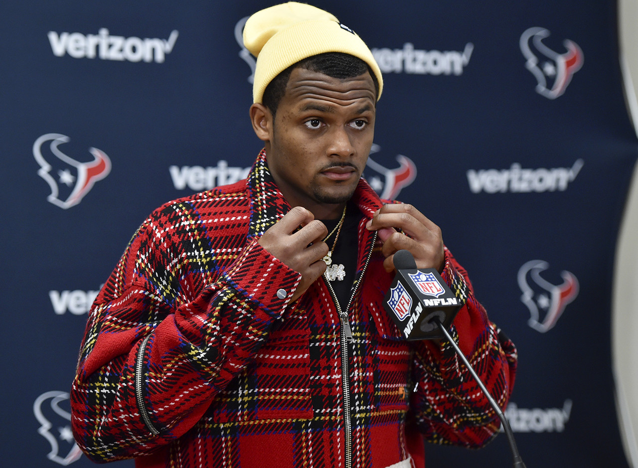 Houston Texans quarterback Deshaun Watson speaks at a news conference following an NFL football game between the Kansas City Chiefs and the Houston Texans, in Kansas City, Mo., Sunday, Oct. 13, 2019. The Houston Texans won 31-24.