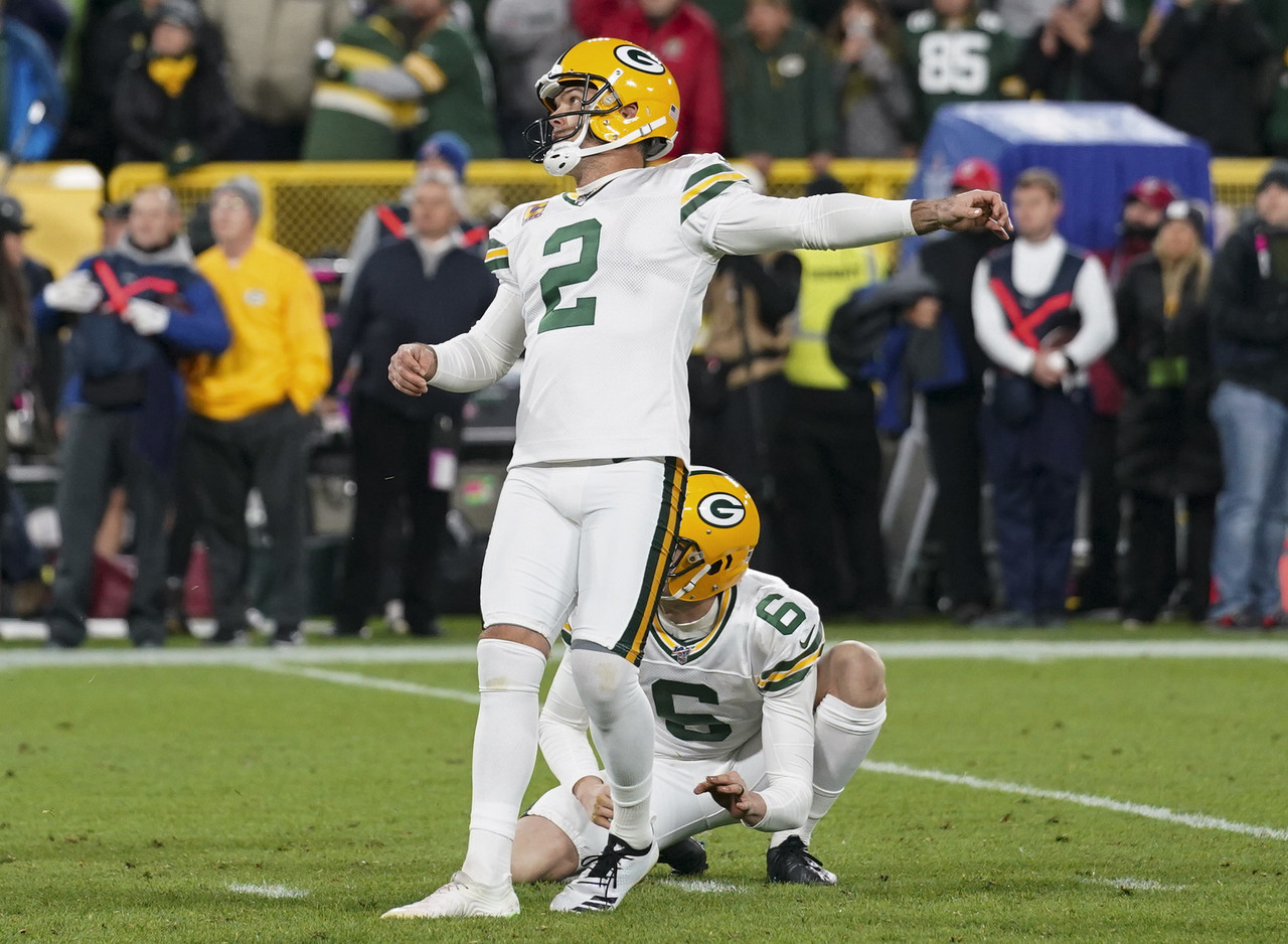 Green Bay Packers kicker Mason Crosby (2) kicks the winning field goal during an NFL football game against the Detroit Lions, Monday, Oct. 14, 2019 in Green Bay, Wis.
