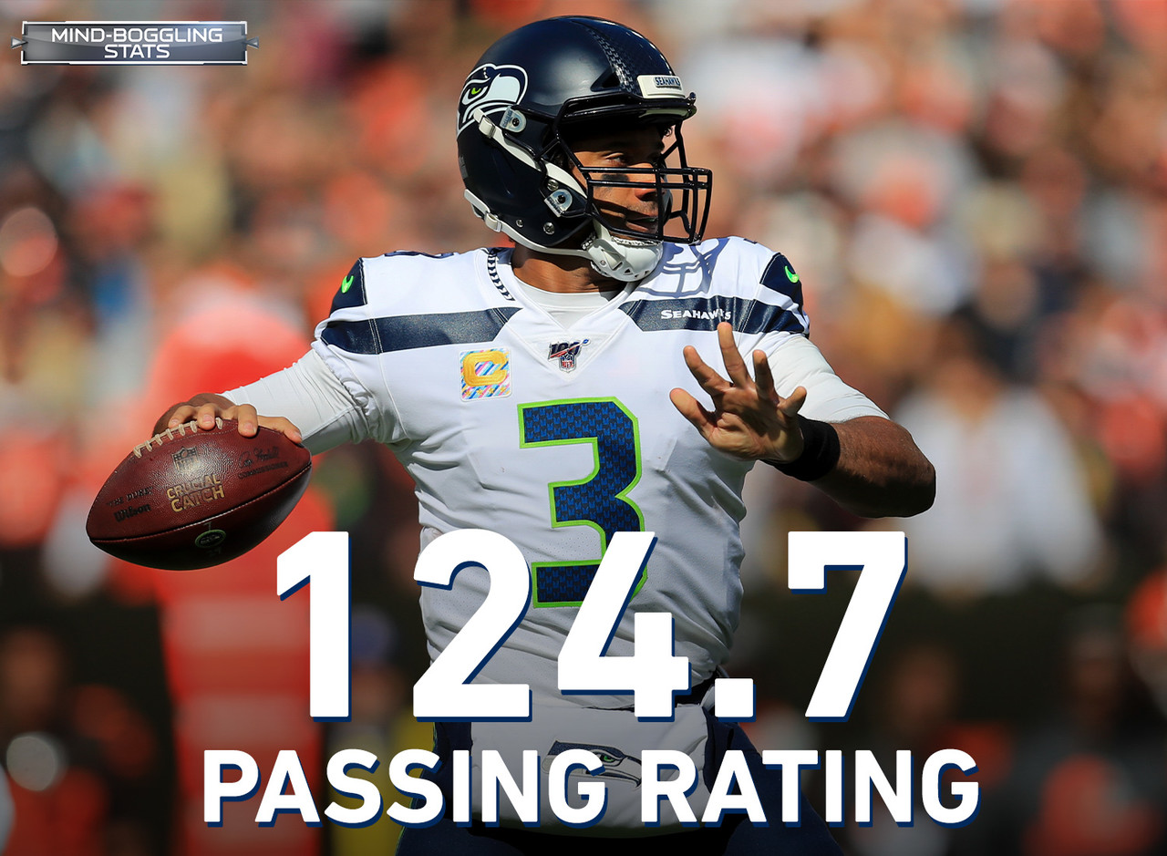 Russell Wilson's passer rating of 124.7 is 12.8 points higher than the next-best QB this season (Patrick Mahomes, 111.9). Since 1975, there have been seven instances of a highest-rated passer finishing a season with a passer rating at least 10 points higher than the next-highest rated passer. That list includes three Hall of Famers — Kurt Warner, Joe Montana & Steve Young (who accomplished the feat twice) — as well as three likely future Hall of Famers (Tom Brady, Aaron Rodgers & Peyton Manning). Oh, and in all seven of those seasons, the QB with the highest passer rating was crowned NFL MVP.