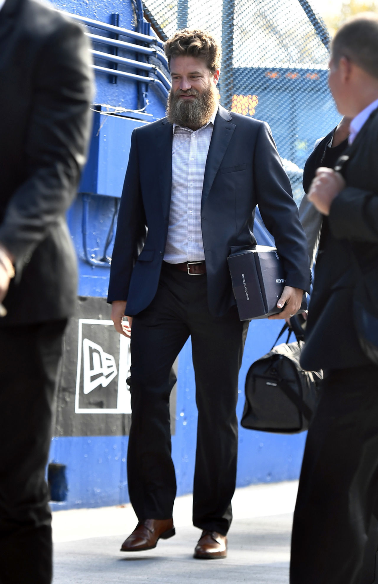 Miami Dolphins quarterback Ryan Fitzpatrick arrives for an NFL football game against the Buffalo Bills, Sunday, Oct. 20, 2019, in Orchard Park, N.Y.