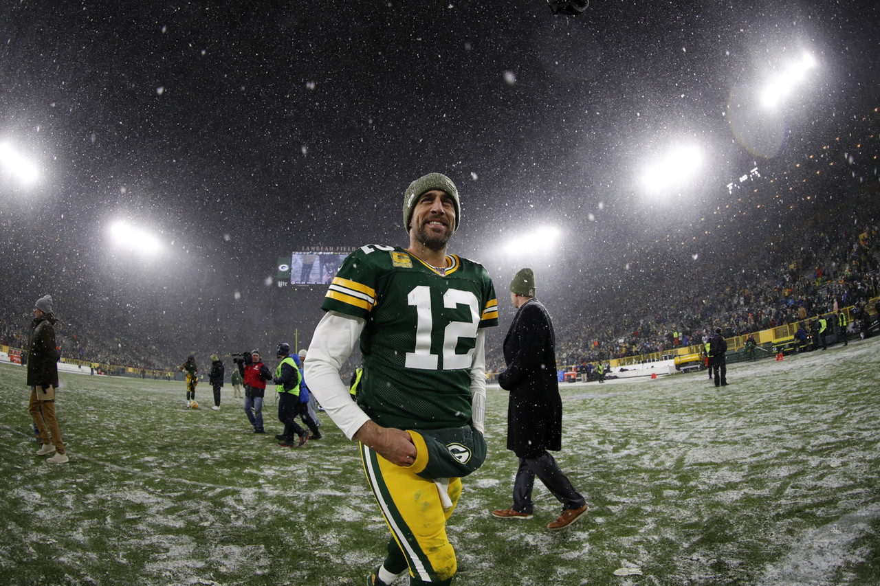 Green Bay Packers' Aaron Rodgers walks off the field after an NFL football game against the Carolina Panthers, Sunday, Nov. 10, 2019 in Green Bay, Wis.
