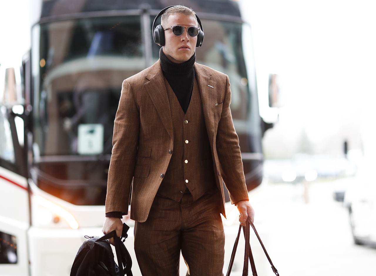 Carolina Panthers running back Christian McCaffrey (22) arrives prior to an NFL football game against the Green Bay Packers, Sunday, Nov. 10, 2019 in Green Bay, Wis.