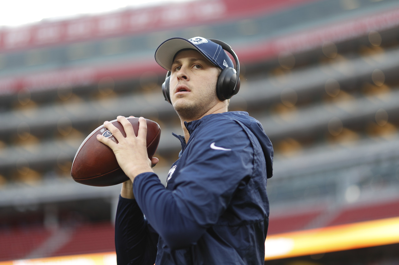 Los Angeles Rams quarterback Jared Goff (16) warms up prior to an NFL football game against the San Francisco 49ers, Saturday, Dec. 21, 2019 in Santa Clara, Calif.