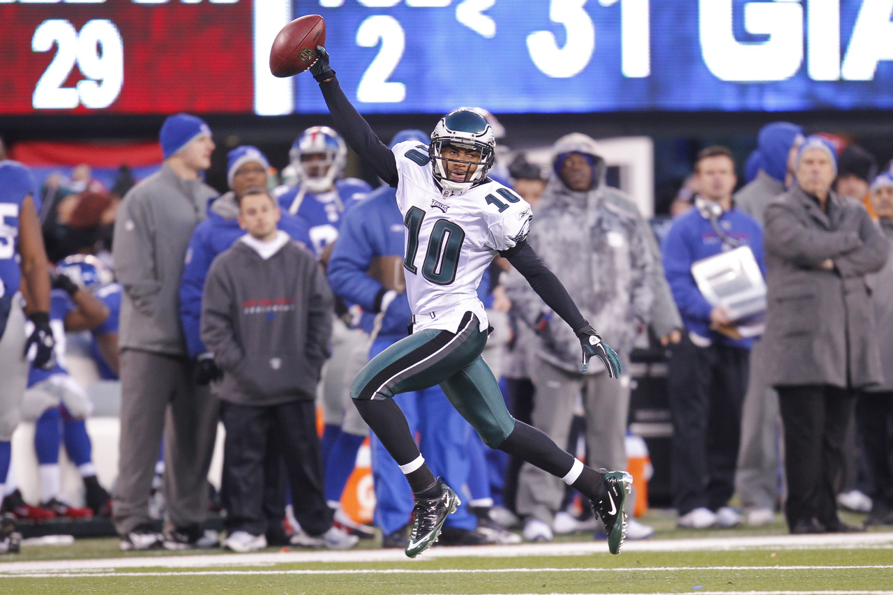 Philadelphia Eagles wide receiver DeSean Jackson returns a punt for a touchdown in the final seconds of the game during a game between the Philadelphia Eagles and the New York Giants. The Eagles won 38-31 at the new Meadowlands Stadium in East Rutherford, New Jersey on Dec. 19 2010.