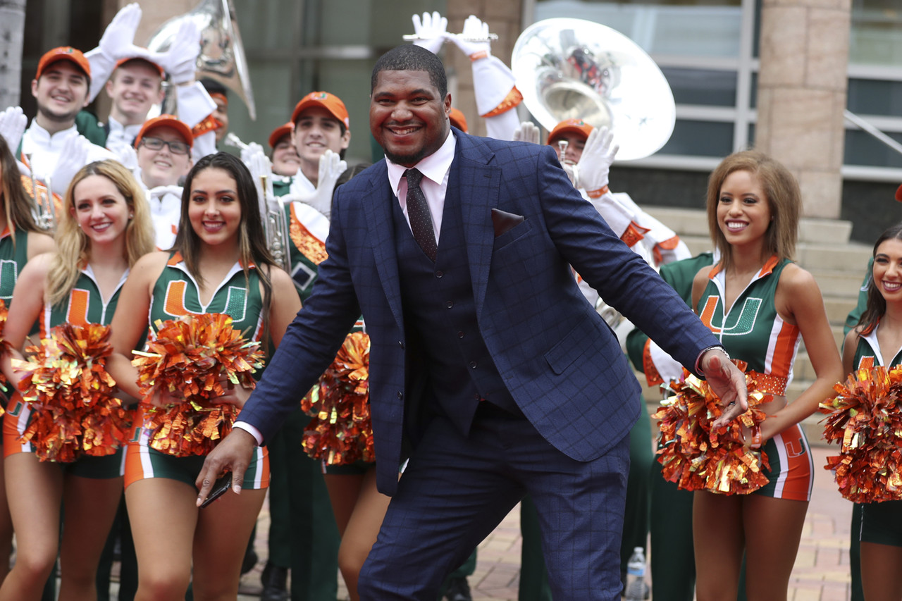 Jacksonville Jaguars defensive end Calais Campbell (93) before the ninth-annual NFL Honors awards show, Saturday, Feb. 1, 2020 in Miami.
