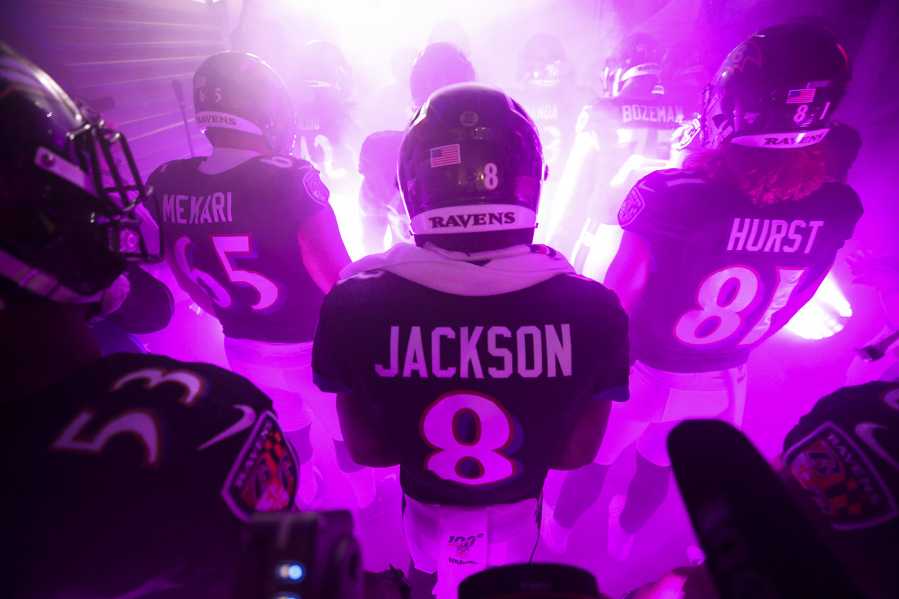 Baltimore Ravens quarterback Lamar Jackson (8) in the tunnel during player introductions prior to an NFL football game against the New England Patriots on Sunday, Nov. 3, 2019, in Baltimore. The Ravens won 37-20.
