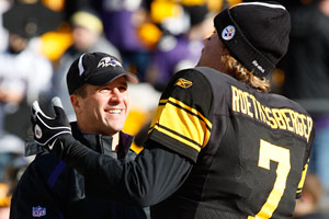 John Harbaugh's Ravens have never swept Ben <br /> Roethlisberger's Steelers. Baltimore gets that <br /> opportunity Sunday night.<br />