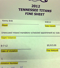 Kenny Britt posted the above image of a $9,915 fine letter from the Titans on Wednesday, along with his unfiltered comments. (Kenny Britt/Instagram)