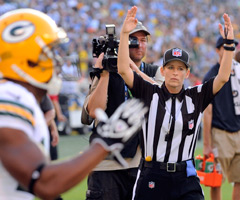 Shannon Eastin became the first woman to officiate an NFL game on Thursday.