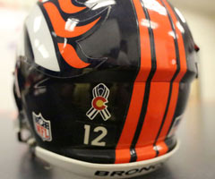 The Denver Broncos will show their support for Colorado by wearing a special decal on their helmets during the 2012 season.