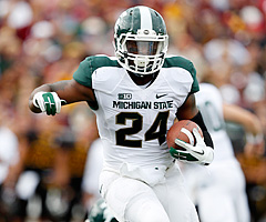 Michigan State RB Le'Veon Bell had 253 rushing yards against Eastern Michigan, but Ohio State's a whole different animal.