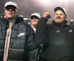 Garrett Reid (left), the son of Philadelphia Eagles coach Andy Reid, was found dead Aug. 5 at the team's training camp.