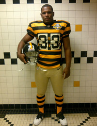 Isaac Redman models the uniform from the 1934 season.(Pittsburgh Steelers)