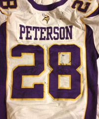 The game-worn jersey donated by Minnesota Vikings running back Adrian Peterson to Jaime Maggio's charity auction benefiting victims of Superstorm Sandy. The auction takes place next week.
