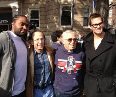 Jerod Mayo, Jonathan Kraft, Robert Kraft and Tom Brady outside an Aerosmith concert Monday. (Courtesy Patriots)