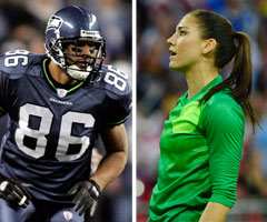 A judge released ex-Seattle Seahawks tight end Jerramy Stevens (left) after finding no evidence he assaulted his fiance, U.S. soccer star Hope Solo.