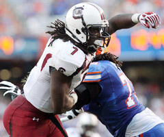 Just a sophomore, South Carolina DE Jadeveon Clowney already has scouts salivating over his combination of size and burst.