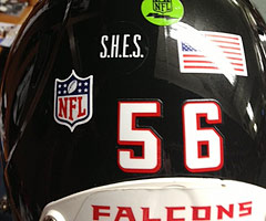 The Atlanta Falcons wore a decal on their helmets Saturday night in honor of the Newtown, Conn., shooting victims.