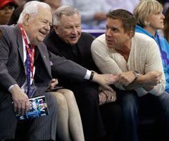 Saints owner Tom Benson (left) shares a laugh with coach Sean Payton (right) on Friday night at New Orleans Arena, just hours after news of a contract agreement between the sides broke.