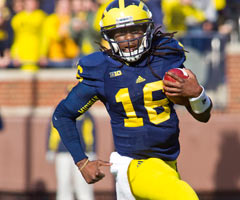 Wherever he lines up, Michigan's Denard Robinson can make a splash Tuesday.