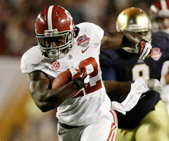 Elusive Alabama running back Eddie Lacy also isn't afraid to run over defenders.
