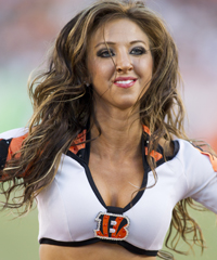 Former Bengals cheerleader Sarah Jones is suing a website for libel. (Associated Press)