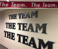 Bo Schembechler's famous words echo in the facilities of both the 49ers (above) and the Ravens. (Courtesy the San Francisco 49ers and Baltimore Ravens.)
