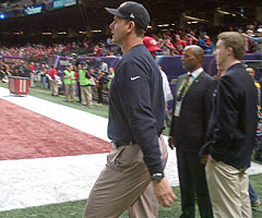 San Francisco 49ers coach Jim Harbaugh has been all business this week ahead of Super Bowl XLVII.