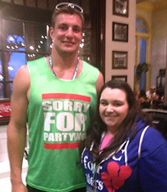 New England Patriots tight end Rob Gronkowski shows off his