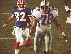 Don Beebe chasing down Leon Lett is the lasting image from an otherwise forgettable Super Bowl XXVII.
