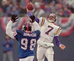 Cunningham led the Vikings to a 15-1 record in 1998, throwing a career-best 34 TD passes.