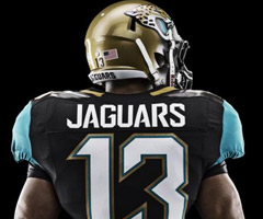A view of the back of the Jaguars' new team jerseys.