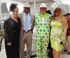 Washington Redskins quarterback Robert Griffin III (second from left) attended Saturday's Kentucky Derby in Louisville.