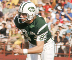 New York Jets wide receiver George Sauer caught eight passes from Joe Namath in the Jets' 16-7 win over the Baltimore Colts in the 1969 Super Bowl. (National Football League)