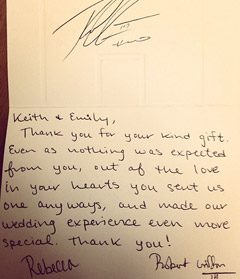 A thank-you note from Robert Griffin III and his fiancée, Rebecca Liddicoat.