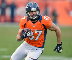 Eric Decker broke out last season, but the addition of Wes Welker hurts his fantasy value for 2013.